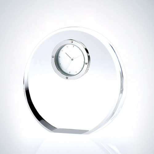 TM Crystal Beveled Circle Clock