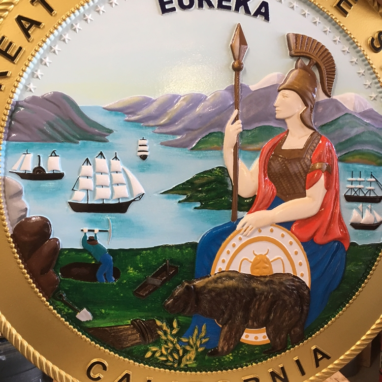 BP-1030 - Carved Plaque of the Great Seal of the State of California, Artist Painted