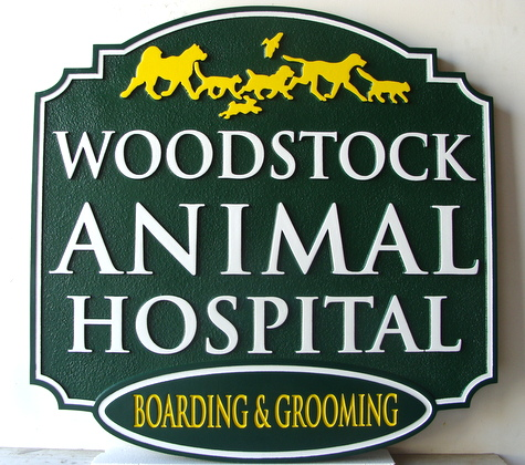 BB11752 - Woodstock Carved Wooden Sign for Small Animal Hospital