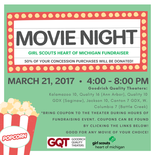 Enjoy a Night at The Movies to Support Girl Scouts Heart of Michigan!