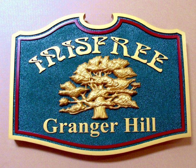 "O24854 -Carved Oak Tree Farm Sign ""Innisfree on Granger Hill"" , 24K Gold-Leafed Gilded"