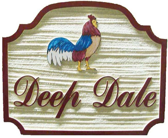 O24452 - Sandblasted, Wood Grain Farm Sign with Colorful Painted Rooster