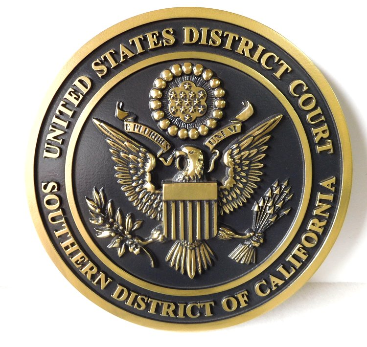 FP-1100 - Carved Plaque of the Seal  of the US District Court,Southern District of California,  Brass Plated