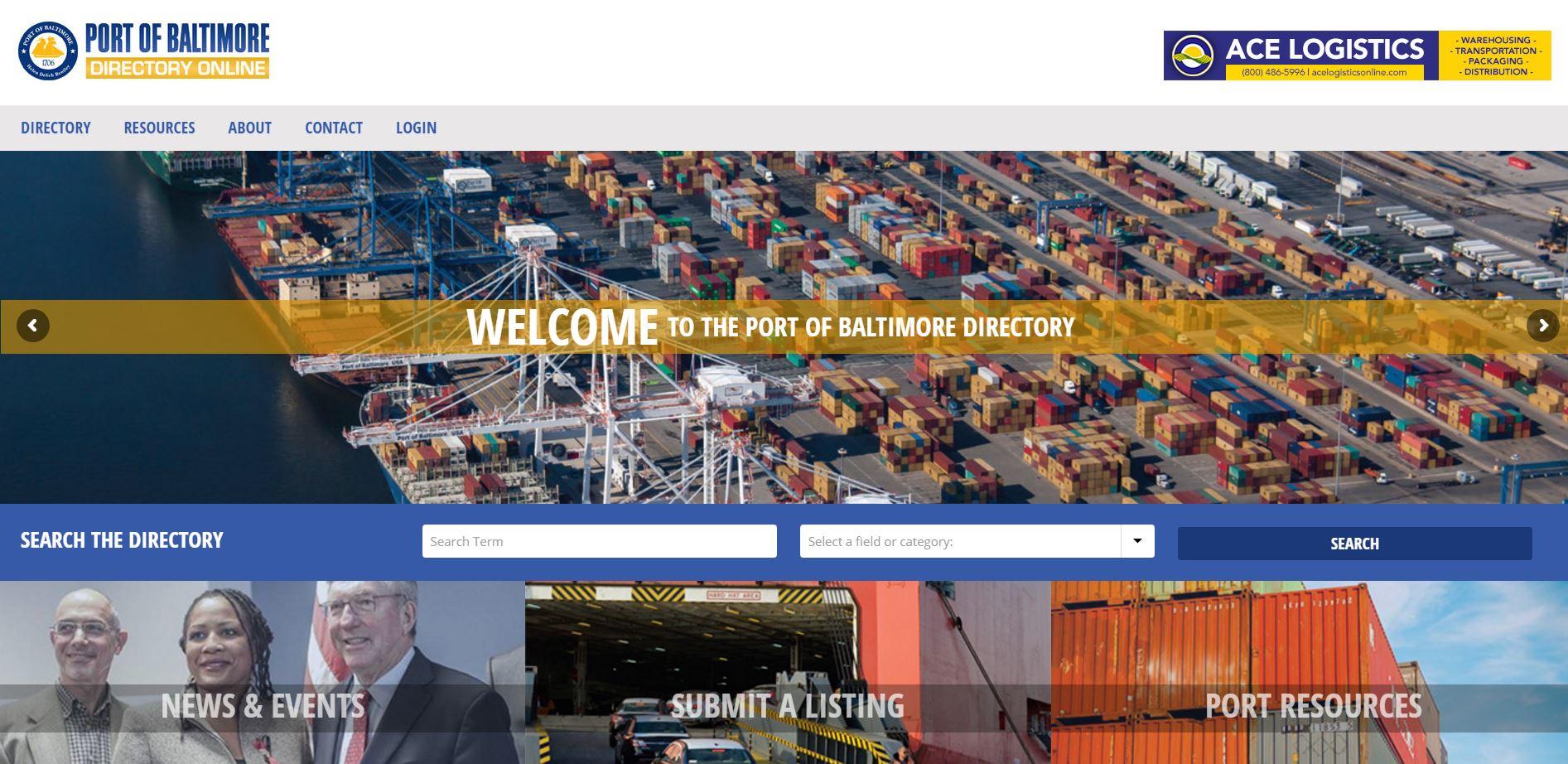 Port of Baltimore Directory Online: Web Development