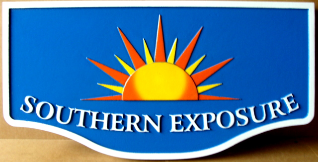"L21207 - Seashore Home Property Name Sign ""Southern Exposure"" with Stylized Setting Sun"