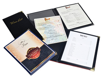 Custom Menus laid out on a white table