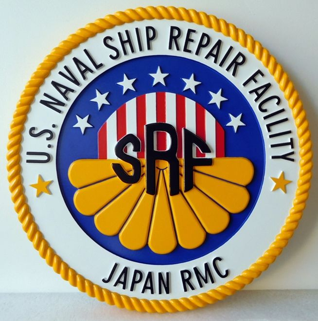 JP-1286 - Carved Plaque of the Seal of the US Naval Ship Repair Facility in Japan, Artist Painted
