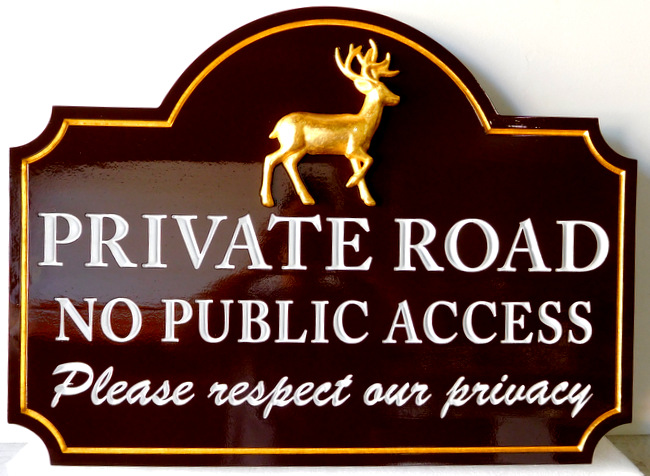 M22622 - Carved Wood Private Road Sign, with Carved 3-D Deer