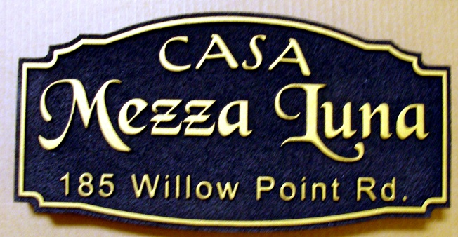 "I18144 - Carved  Address Sign for ""Casa Mezza Luna"" Residence"