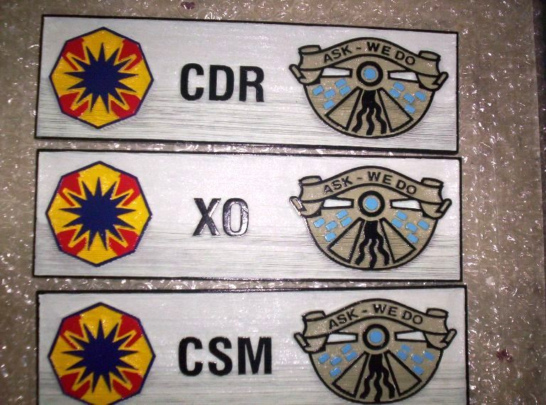 """V31819 - Carved Wood Name Plaques for Officers in the 553 Supply and Service Battalion """"We Do"""""""