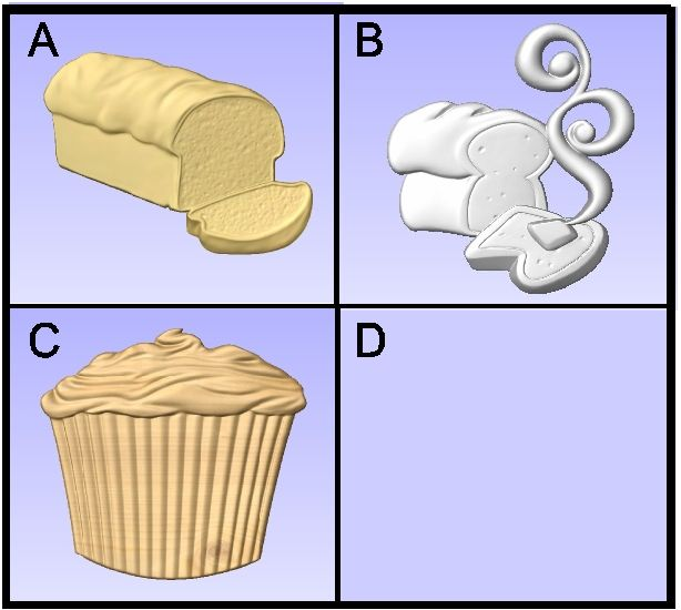 Q25907 - 3-D Carved Bakery Items, Bread, Cupcakes