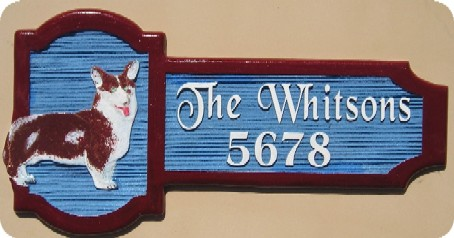 I18618 -Residence Name Sign, with Carved Corgi Dog