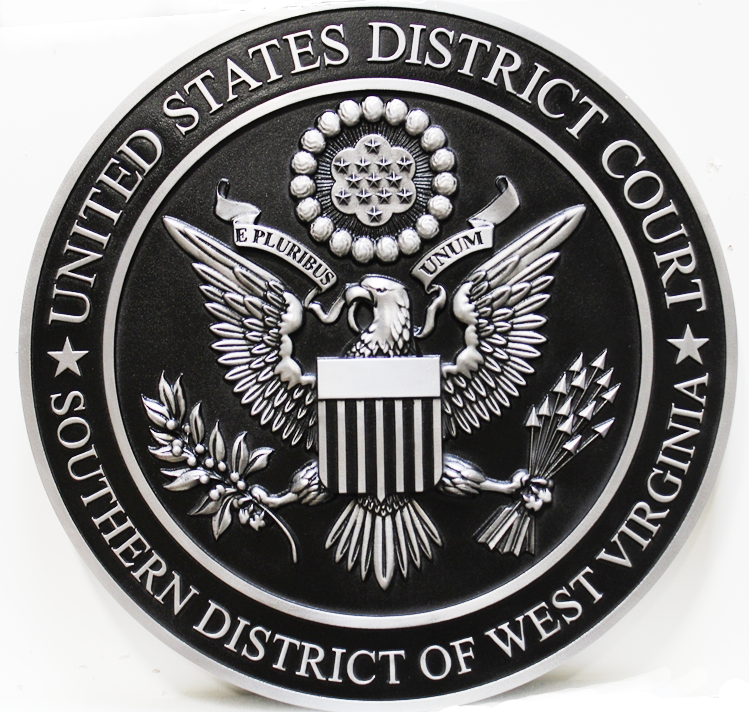 FP-1385  - Carved 3-D Aluminum-Plated HDU Plaque of the Seal of the United States District Court, Southern District of West Virginia