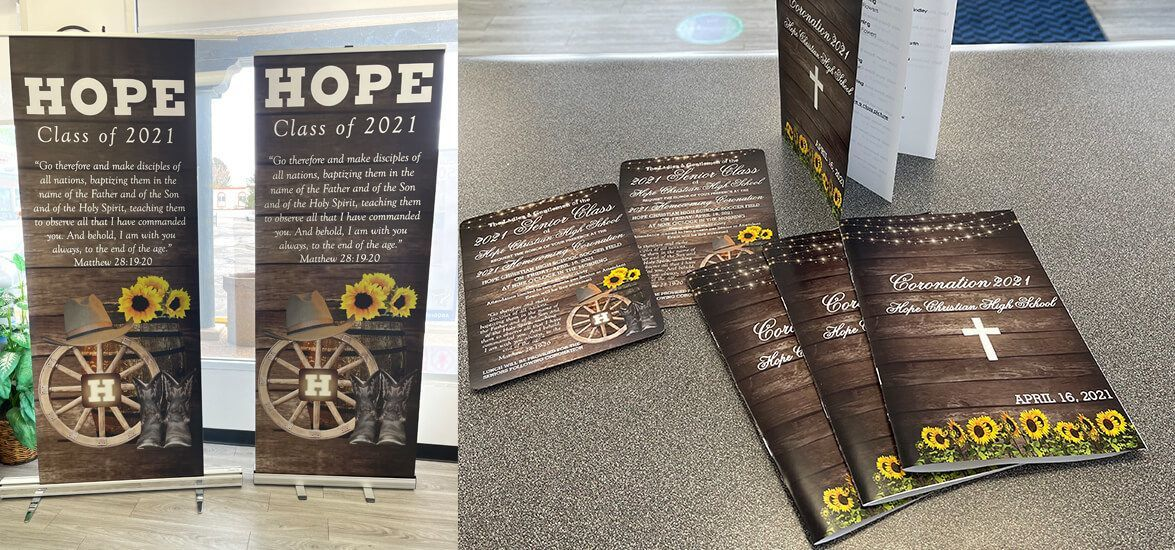 Retractable Banners, Postcards, and Booklets