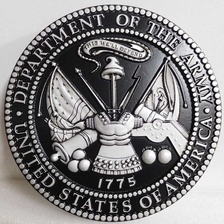 MP-1060 - Carved Plaque of the Great Seal of the US Army (USA), Painted with Metallic Silver with Hand-Rubbed Black