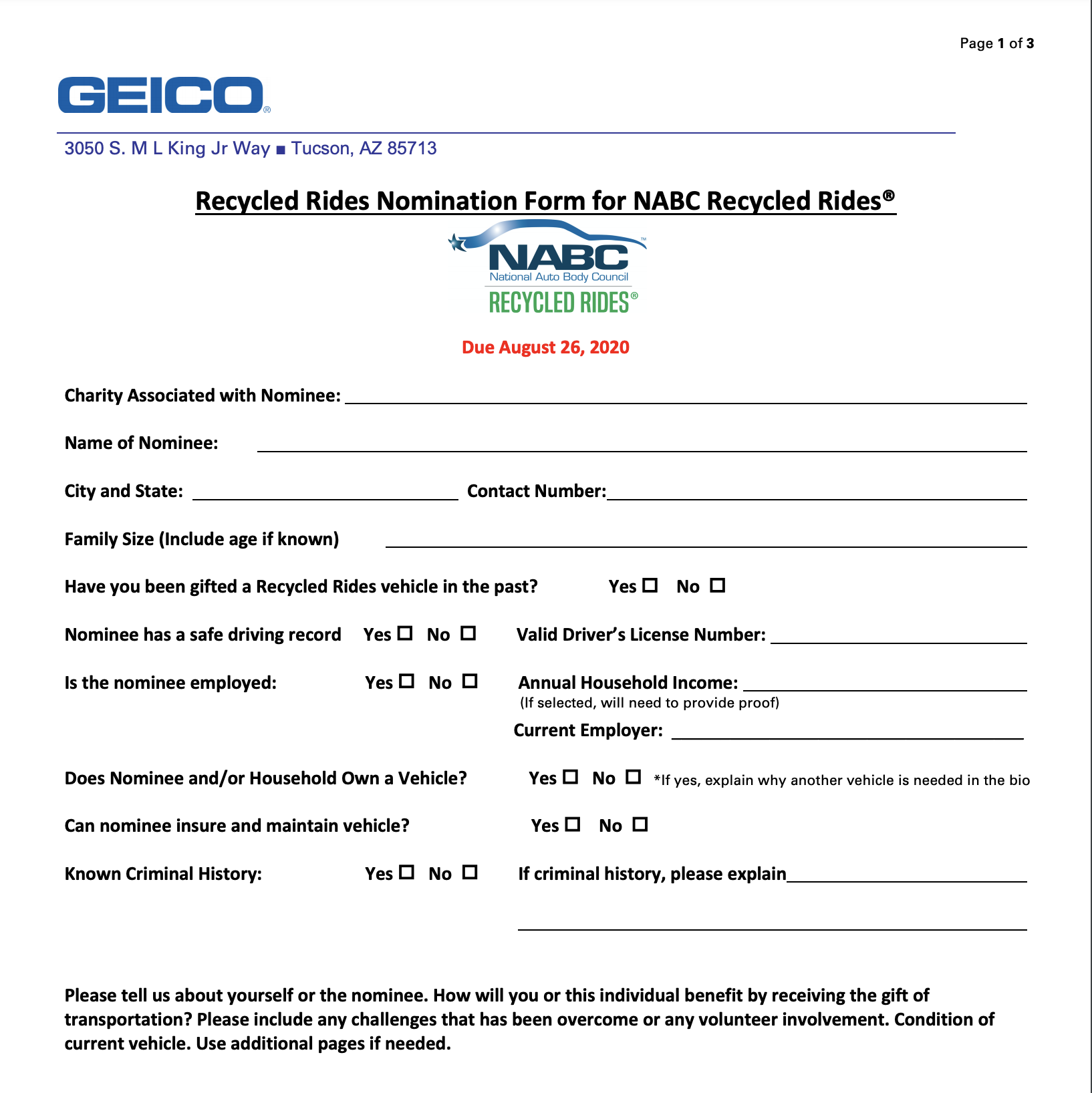 NABC's Recycled Rides Nomination Form