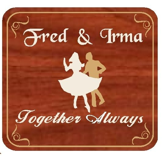 JG902 - Custom Engraved Mahogany Wood Wall Plaque for a Couple Dancing