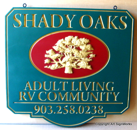 G16311 - RV Community Sign with Engraved Gold-Leaf Text & Golden Oak Carving
