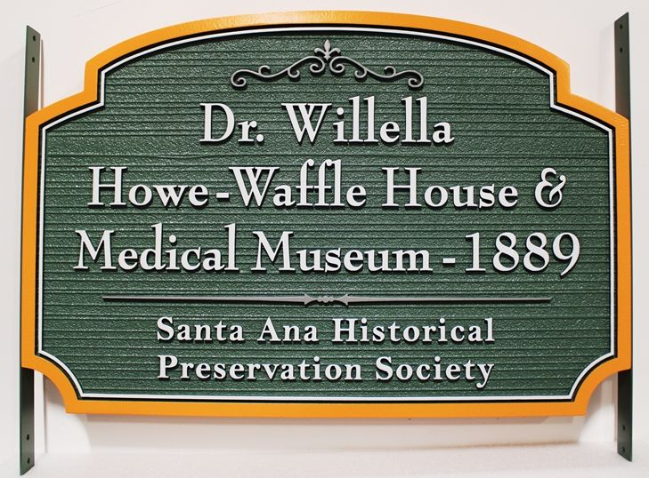 F15905 - Carved and Sandblasted Wood Grain Sign carved HDU Sign  for the Howe-Waffle House and Medical Museum-1889, with Side Brackets for Installatiion Between Two Posts