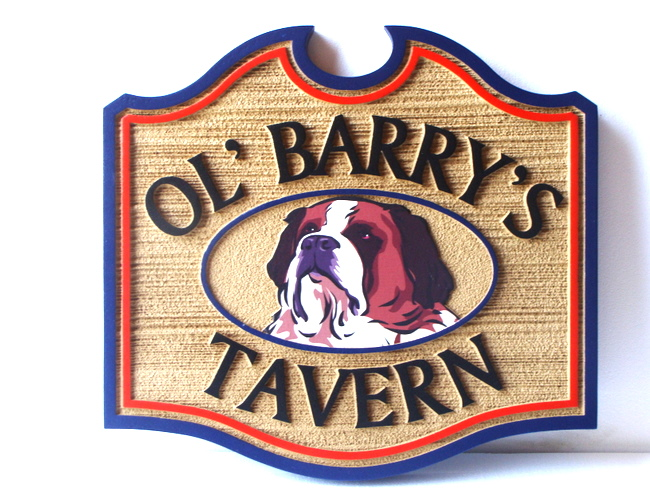 "RB27562 -  Carved and Sandblasted HDU  Sign for ""Ol' Barry's Tavern"", with St. Bernard and Cask"