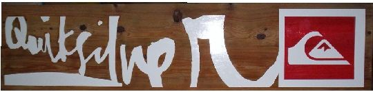 """M3406 - Carved Wood Sign """"Quicksilver"""" with Silver Lettering and Shoe Logo (Gallery 28)"""