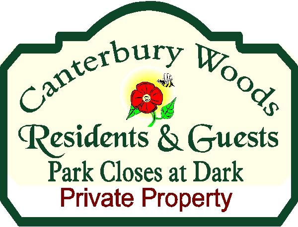 GA16522 - Design of Wood or HDU Sign for Canterbury Woods  Private Property, Park for Residents Only, Carved Flower and Bumble Bee