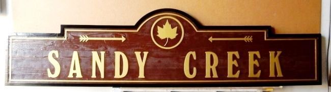 H17065 - Carved Western Red Cedar Road Name Sign, Sandy Creek