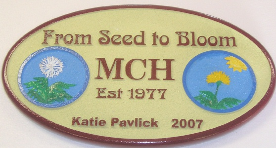 "N2300 - Carved (HDU or Wood) Garden Center Sign ""From Seed To Bloom"" with Carved Framed Flowers"