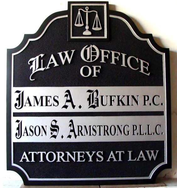 A10133 - Silver and Black Carved Law Office Entrance Sign