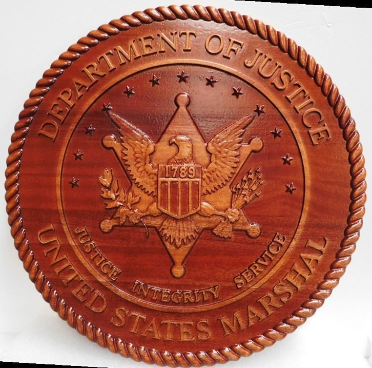 PP-1854 - Carved 3-D Mahogany Wood  Plaque of a Badge of aUnited States Marshall, Department of Justice