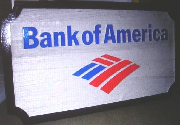 M3505 - Painted Bank of America Sign with Bank Logo (Gallery 21)