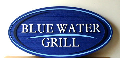 """L21948 - Carved and Sandblasted HDU Seafood Restaurant Sign, """"Blue Water Grill"""""""