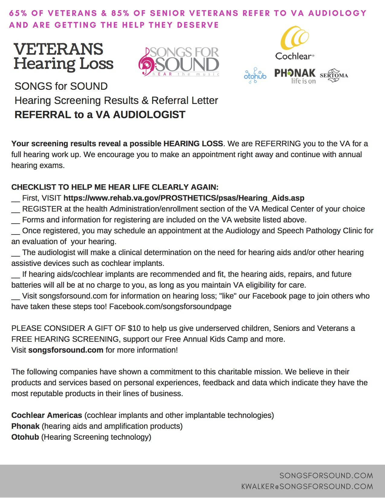 Veterans Hearing Loss Checklist