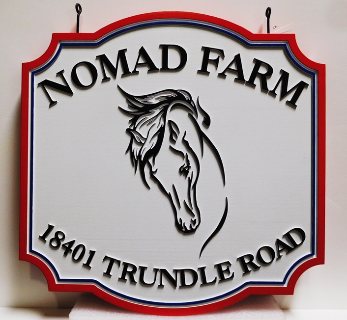 """P25056 - Carved Entrance and Address HDU Sign  for """"Nomad Farm"""" with a Horse's Head as Artwork"""