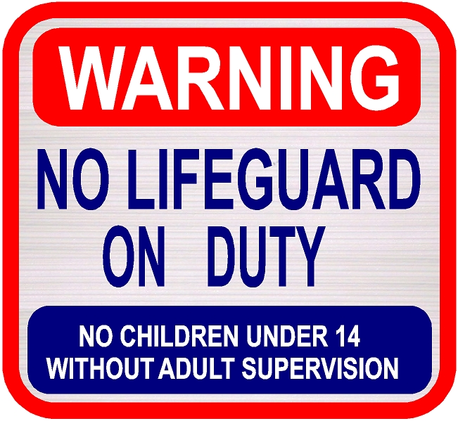 "GB16772 - Carved, Wood Grain Texture, Sign for Pool "" WARNING NO LIFEGUARD ON DUTY"" ""NO CHILDREN UNDER 14 WITHOUT ADULT SUPERVISION"""