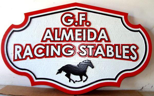P25110 - Carved Cedar Entrance Sign for G.F. Almeida Racing Stables