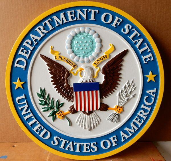 AP-3640 - Carved Plaque of the Seal of the United States State Department, Artist Painted
