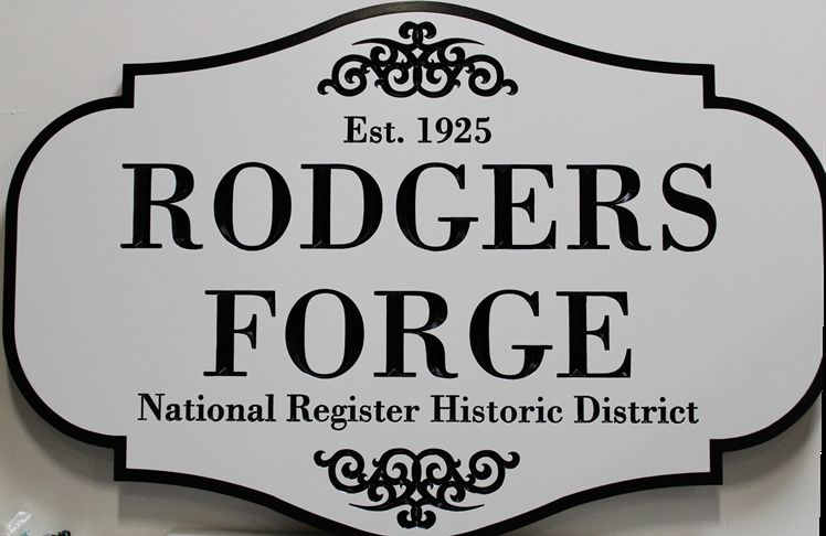 F15984 - Engraved High-Density-Urethane Sign  (HDU) for the  Historical Rodgers Forge House, Est. 1925,