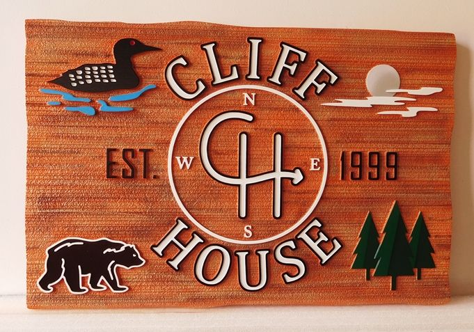 "M22017 - Carved ""Cliff House""  Sign is Made of  High-Density-Urethane (HDU) Sandblasted in a Wood Grain Pattern, with a Bear, Duck, Pine Trees and the Moon as Artwork"
