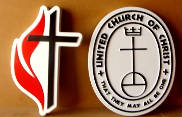 D13116 – Carved Sign for United Church of Christ, with Its Cross and Flame  Symbol