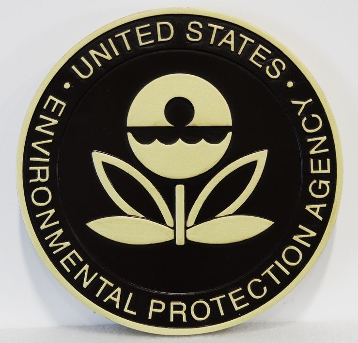 U30246 - Carved 2.5-D  High-Density-Urethane (HDU)  Wall Plaque of the Seal of the Environmental Protection Agency (EPA)