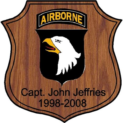 "MP-3420 - Engraved  Retirement Shield Plaque  ""The Screaming Eagles"" 101st Airborne Division,  US Army, Personalized,  Cedar Wood"
