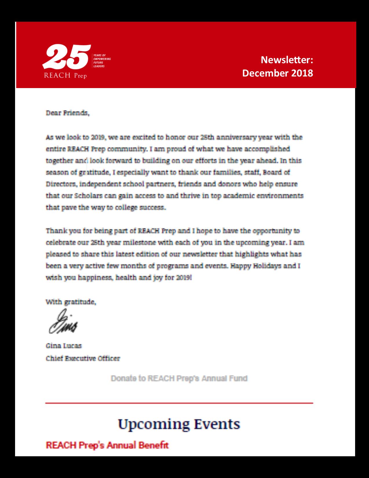 Newsletter: December 2018
