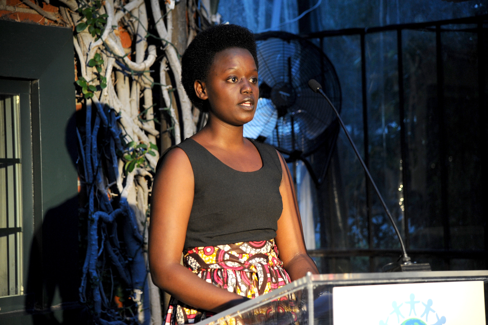 Grace Umutesi, speaking at the  the World of Children Alumni Honors event, 2015.