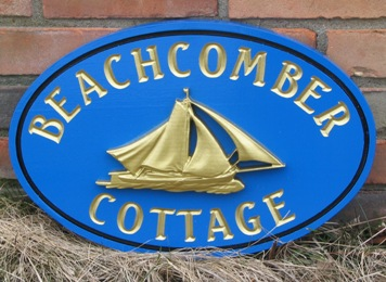 "L21304 - 24K Gold-Leaf Gilded Sailboat for ""Beachcomber Cottage"""