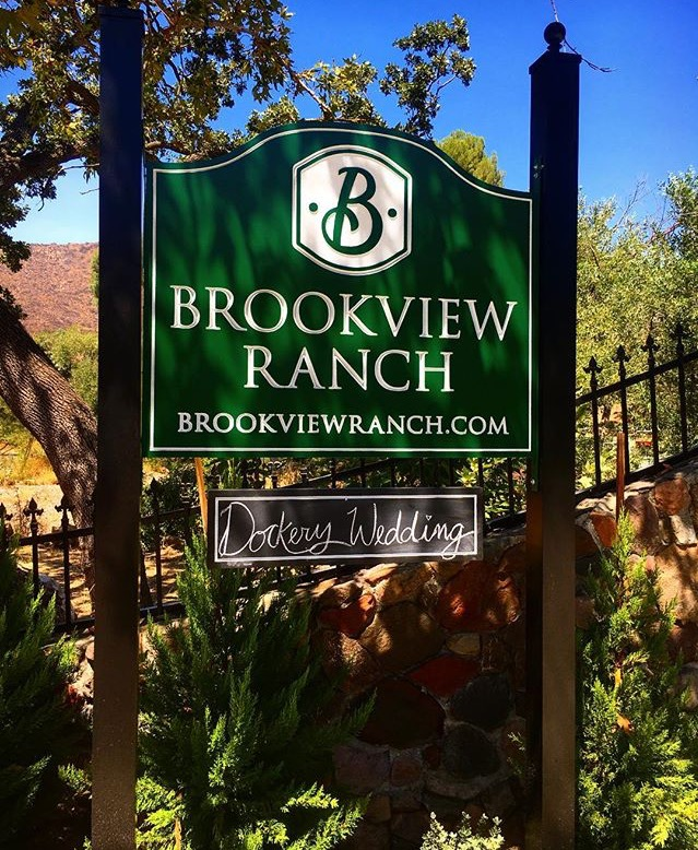O24006 - Carved HDU Sign for the Brookview Ranch, Installed between Two Wood Posts