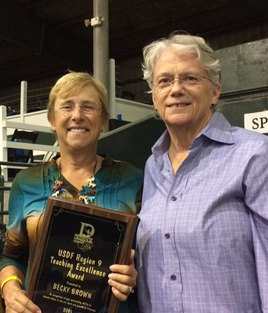 Becky Brown Awarded TDF's  2015 USDF Region 9 Teaching Excellence Award
