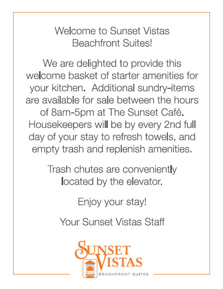 Sunset Vistas Amenity Card