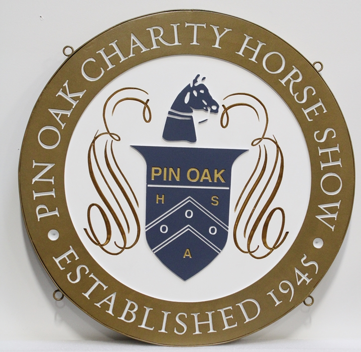 P25065 - Elegant Carved  Sign for the Pin Oak Charity Horse Show., with  a Horse's  head above a Coat-of-Arms Shield.as Artwork