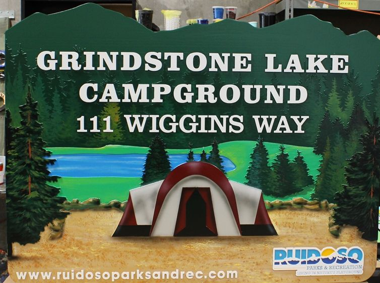 G16225 - Carved HDU Sign for the Grindstone Lake Campground , with  Mountains,  Lake, and Trees as Artwork.